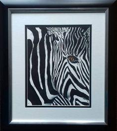 Zebra   Unique Contemporary Watercolour. Black and White
