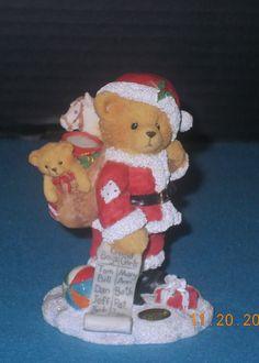 "Cherished Teddies, ""Santa Bear"" Nickolas, Lic. Enesco, Ltd Ed, Retired  1995 #CherishedTeddies"