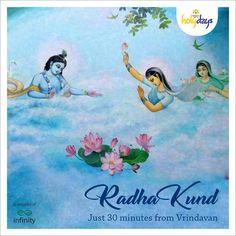 It is believed that Sri Krishna told Radharani that He would bathe in her holy pond every day. Today, thousands of devotees bathe in Radha Kunda at midnight on Krishnashtami in the month of Kartika. #KrishnaBhumiHolydays #LandOfKrishna #Hinduism #Krishna #hindutemples #India