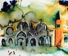 By Salvador Dali, Venise, La basilique et le campanile.