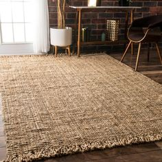 Bring a hint of natural flair to your home with the nuLOOM Handmade Eco Natural Fiber Chunky Loop Jute Rug. This rug features a natural jute construction with a sturdy woven construction and fringed e Farmhouse Area Rugs, 4x6 Rugs, Jute Rug, Handmade Home Decor, Handmade Rugs, Online Home Decor Stores, Online Shopping, Home Decor Outlet, Cool Rugs