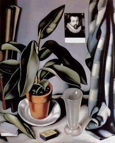 """Love how very much like her portraits this feels.  It has the same shadows and contours, the same strong presence for otherwise subdued colors.  It even has the same tension between wilting and lilting.  *** """"Succulent and Flask."""" Tamara de Lempicka.  1941."""