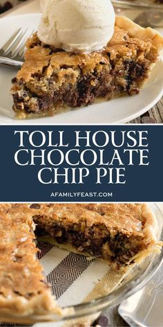 Toll House Chocolate Chip Pie has all of the classic flavors of your favorite cookie in a warm, dense, fudgy cookie pie! house Toll House Chocolate Chip Pie - A Family Feast® Pecan Desserts, Just Desserts, Recipes For Desserts, Dinner Recipes, Health Desserts, Tasty Recipes For Dessert, Pumpkin Recipes, Easy Delicious Desserts, Drink Recipes