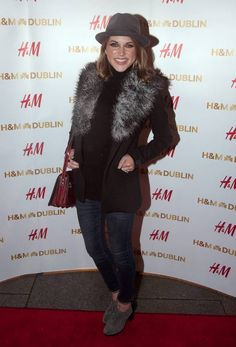 She may have only just given birth to her second child - but actress Amy Huberman showed no signs of any lingering baby weight at her first outing since the birth of Billy. E Dublin, Opening Night, Second Child, Celebrity News, Fur Coat, Actresses, Celebrities, Amazing, Teeth
