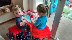 IKEA HACK - Utter childrens table with Samla storage box inserted to make sand/water/sensory table