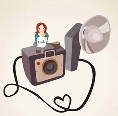 The photographer Print 8 x 11.5 - Girl with a vintage photo camera. $22.00, via Etsy.