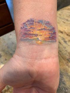 Small sunset tattoo on inner wrist; by artist Layla Hege. Dr Tattoo, Tree Tattoo Men, Tree Tattoo Designs, Design Tattoo, Tattoo Designs For Women, Cute Tattoos, Body Art Tattoos, Small Tattoos, Sleeve Tattoos