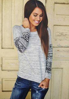 Grey Geometric Print Long Sleeve Round Neck Casual Fashion T-Shirt - T-Shirts - Tops
