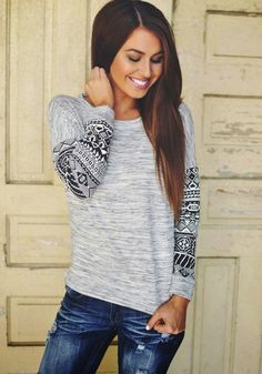 Grey Geometric Print Long Sleeve Round Neck Casual Fashion T-Shirt