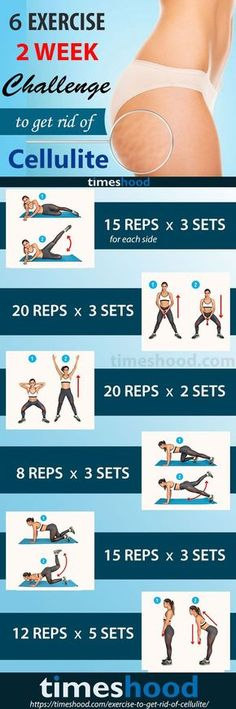 6 Exercise, 2 Weeks Challenge to Get Rid of Cellulite. Find out how to get rid of cellulite, firm legs, and smooth thighs with this 20-minute workout routine. These exercises show you how to get rid of cellulite on buttocks and thighs fast. Cellulite workout at home. https://timeshood.com/exercise-to-get-rid-of-cellulite/