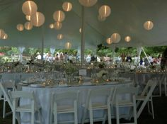 White Lanterns in tent top. Ebb Tide Tent and Party Rentals