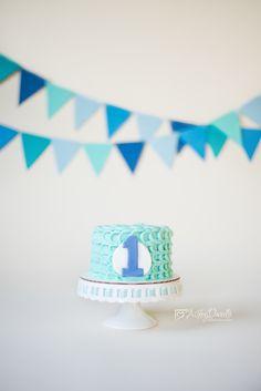 Boy cake smash, blue cake smash, blue and white cake smash, simple cake smash, blue and teal cake smash, savage bone backdrop, Ashley Danielle Photography: Cake Smash   Maple Valley, WA