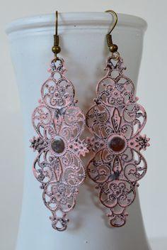 Light Pink Flower Filigree Earrings, Boho Filigree Earrings, Statement Earrings, Fall Earrings, Antique Bohemian Earrings Hippie Earrings