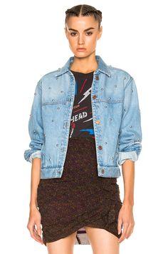 Image 1 of Isabel Marant Etoile Coften Fancy Studded Denim Jacket in Light Blue