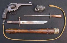 Close quarter weapons, some issued, some homemade, carried by British troops in WWI.