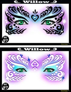 Willow Stencil Eyes Stencil: Silly Farm Supplies Inc. Face Painting | Body Painting | Airbrush Supplies | Arty Brush Cakes | Rainbow Cakes | Clown Supplies