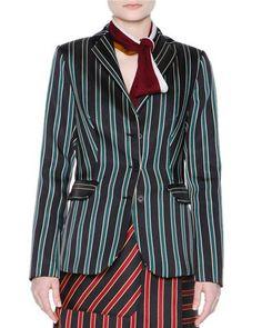 B3DJJ Tomas Maier Striped Three-Button Jacket, Black/Sage
