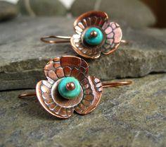 Copper Earrings  embossed copper flower by CinnamonJewellery,