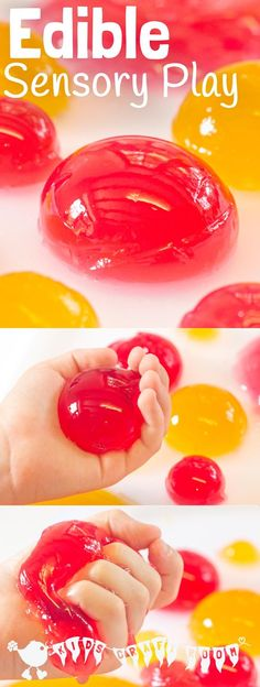 EDIBLE SENSORY PLAY BALLS ACTIVITY - a truly multi sensory play experience. Kids will love feeling, smelling, hearing, seeing and tasting it! A great way to engage all the senses.