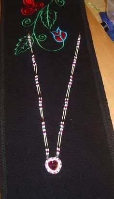 crystal heart and porcupine quill necklace