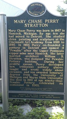 Mary Chase Perry Stratton historical marker at Pewabic Pottery in Detroit, MI