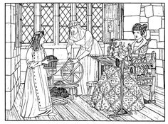 Medieval textiles coloring page