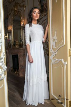 Modest and elegant 3/4 sleeves wedding gown