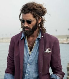 Menswear | fashion | style | beard | long hair | boheme | blazer | bohemian