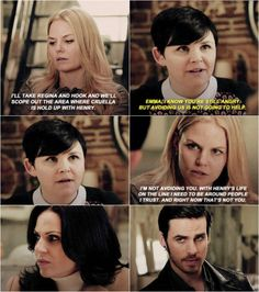 I love Hook and Regina's  expressions...                                Once Upon a Time 4x18 'Sympathy for the De Vil'