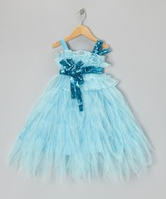 Take a look at this Light Blue Sequin Tiered Dress - Toddler & Girls on zulily today!