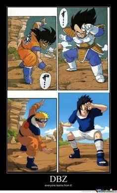 Goku vs vegeta and naruto vs sasuke.