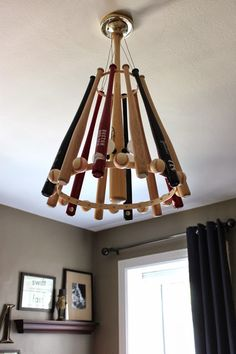 """Baseball Themed Nursery Decor: DIY Handcrafted Baseball Bat Chandelier"" Would be cool in a man cave too Baseball Crafts, Baseball Mom, Baseball Stuff, Baseball Decorations, Baseball Nursery, Baseball Season, Baseball Bat Decor, Boys Baseball Bedroom, Baseball Table"