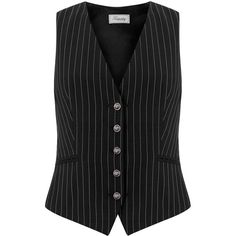 Temperley London Nico Stripe Millie Waistcoat (7.177.025 IDR) ❤ liked on Polyvore featuring outerwear, vests, black stripe, waistcoat vest, black vest, black waistcoat, striped vest and temperley london