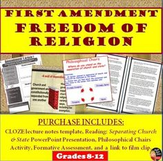 "Freedom of Religion (1st Amendment) Lecture, Reading and Philosophical Chairs Activity This creative, 15-slide power point Lecture: Freedom of Religion reviews the establishment and free exercise clauses of the first amendment. Students will begin by completing a reading and questions related to the ""separation of church and state"". Students will then take notes on the creative template included and participate in an opinion survey about our rights related to freedom of expression."