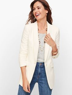 Shop Talbots for modern classic women's styles. You'll be a standout in our Long Blazer - only at Talbots! Blazer Outfits, Blazer Fashion, Fashion Boots, Women's Fashion, Long Blazer, Blazer Jacket, Cream Blazer, Classic Style Women