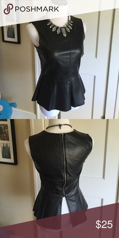 CO pleather back zip peplum top Fully lined, super cute!  Necklace available separately. 50 polyethylene, 50 rayon.  Hand wash cold, line dry Urban Outfitters Tops