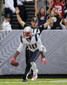 Nov 19, 2017; Mexico City, MEX; New England Patriots strong safety Duron Harmon (30) celebrates after an interception against the Oakland Raiders during an NFL International Series game at Estadio Azteca. Mandatory Credit: Kirby Lee-USA TODAY Sports — at Estadio Azteca.
