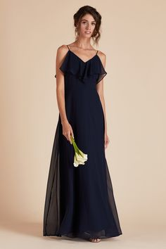Jane Convertible Chiffon Bridesmaid Dress in Navy – Birdy Grey Grey Bridesmaids, White Bridesmaid Dresses, Affordable Bridesmaid Dresses, Wedding Dresses, Convertible Dress, Floor Length Gown, Chiffon, Color Swatches, Fabric Swatches