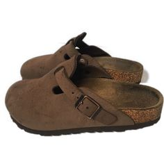 abe4abbcd922 Birkenstock Girl s Boy s size 32 US 1 Boston Suede Leather Clogs Brown  Shoes  Birkenstock