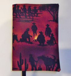 Fabric Paperback Book Cover Cowboy Silhouette by momssewingroom