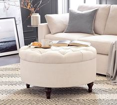 Made in America by our own master furniture makers, our Lorraine Tufted Round Storage Ottoman has plush cushioning and deep tufting. Use it in a living room as additional seating or in a bedroom as you prepare for the day or evening ahead. Round Tufted Ottoman, Round Storage Ottoman, Sectional Ottoman, Upholstered Ottoman, Coffee Table With Storage, Coffee Tables, Storage Benches, Swivel Armchair, Upholstered Bench