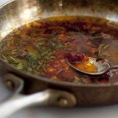 Magic sauce (olive oil, fresh herbs  salt, garlic, pepper flakes, and lemon juice). Goes on everything.