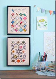Decoração faça você mesma: Quadros com retalhos e botões | Flickr