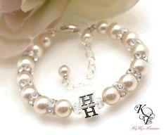 Flower Girl Bracelet, Personalized Jewelry, Flower Girl Gift, Wedding Jewelry, Personalized Gift, Keepsake Gift, Initial Bracelet, Wedding