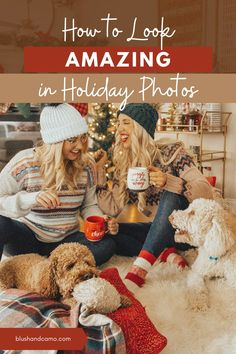 Every year I love to get holiday photos taken in my home! Whether they're with my family or my bestie, it's the best background for any picture! Let me give you some tips for your at home photo opp with your family, and your dog, and your best friend! From lighting to what to wear, you'll find everything here! #familyphotoideas #photography #lovechristmas #christmasphotos