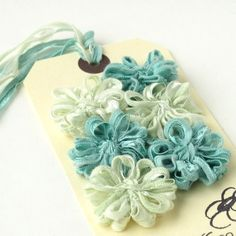Flower Embellishments in Mint Green and Blue Ribbon £5.00