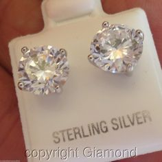 4ct Unisex Round Brilliant cut Stud Earrings Platinum over Solid Sterling Silver #Giamond #Stud
