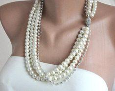 Novias nupcial collares de perla de vidrio 3 por HMbySemraAscioglu