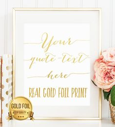 Custom Gold Foil Print  Add Any Text You Want in by TheGoldenBike