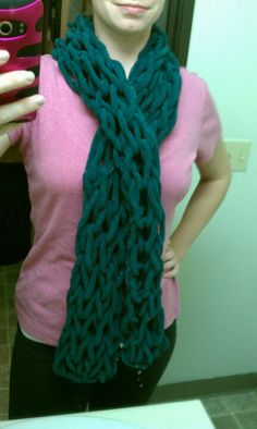 Scarf. Knit using just my hands and forearms. No knitting needles. Took a little less than 2 hours to make 1 scarf. The thick yarn I  found at hobby lobby. Directions on my DIY board. Try it!